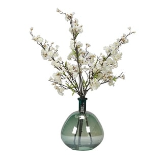 D&W Silks White Cherry Blossom Branches in Teal Glass Bottle Vase