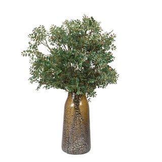 D&W Silks Green Pistachio Branches in Brown and Silver Glass Vase