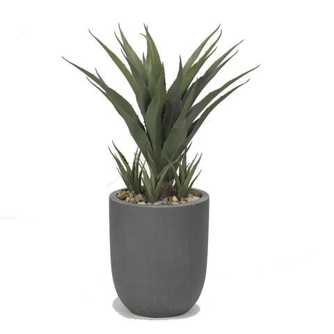 D&W Silks 34-inch Sisal Plant in Round Grey Resin Planter