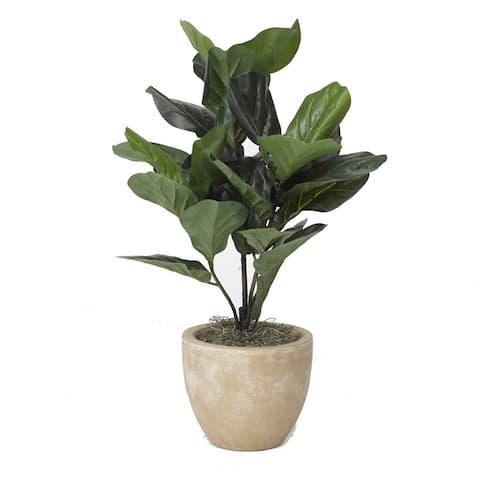 D&W Silks Fiddle Leaf Fig Plant in Round Tan Planter