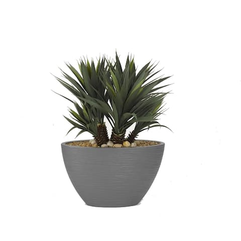 D&W Silks Star Succulent in Oval Grey Resin Planter