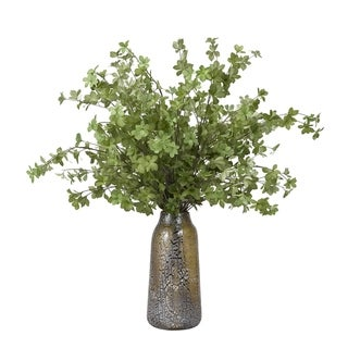D&W Silks Light Green Leafy Branches in Brown and Silver Glass Vase