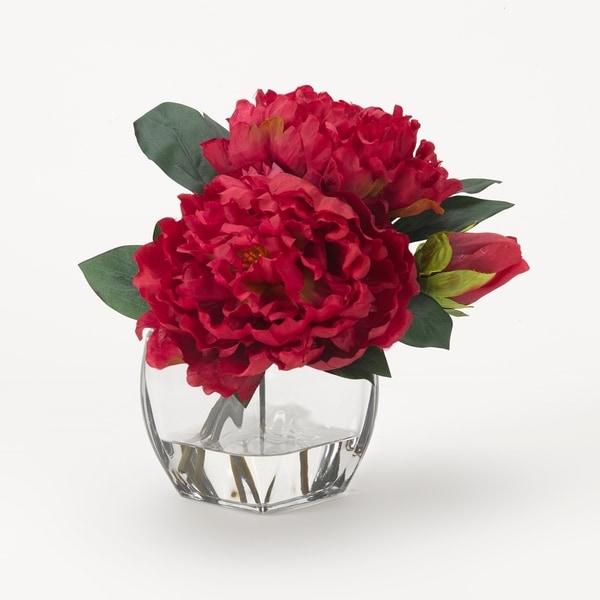 D&W Silks Beauty Peonies in Glass Cube