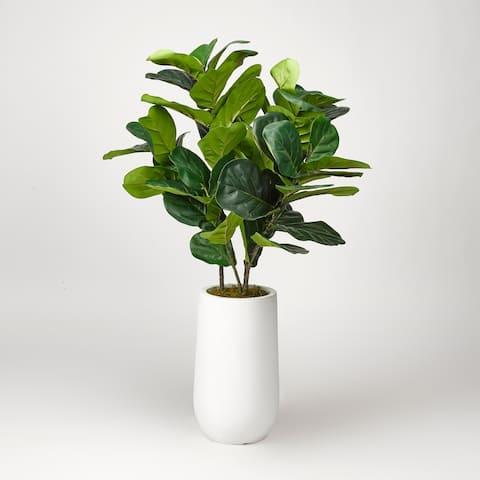 D&W Silks Fiddle Leaf Fig Plant in Round White Planter
