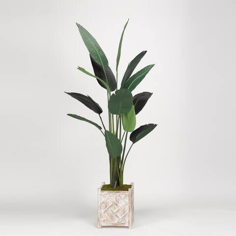 D&W Silks Traveler Palm Tree in Square Wooden Planter