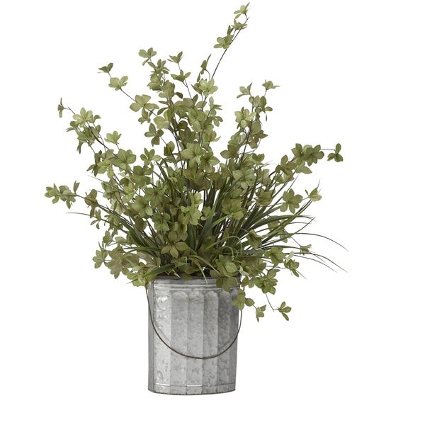D&W Silks Fall and Green Branches in Oval Metal Bucket