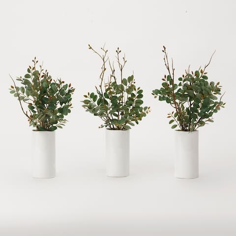 D&W Silks Green Pistachio Branches in White Ceramic Cylinder (Set of 3)