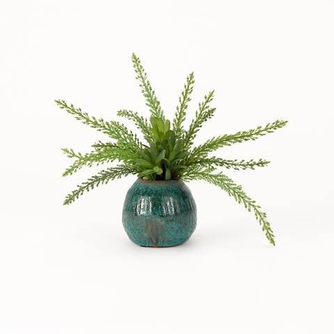 D&W Silks Heather Fern in Blue Rustic Ceramic Planter