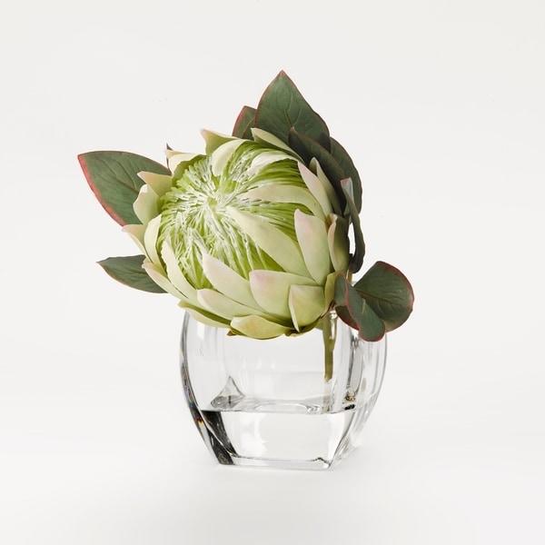 D&W Silks White Queen Protea in Glass Cubes