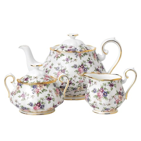 100 Years 1940 English Chintz 3-piece Tea Set