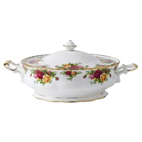 Old Country Roses 50-ounce Covered Vegetable Bowl