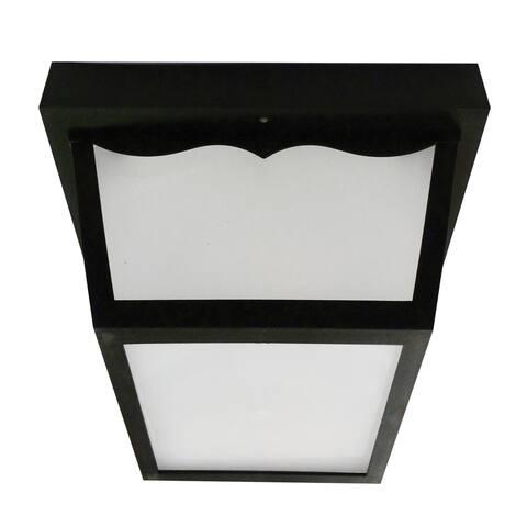 Olden 1-light Black LED Outdoor Flush Mount, White Glass Shade