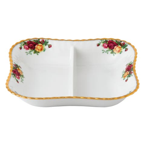 Old Country Roses 9-inch 2-part Divided Server
