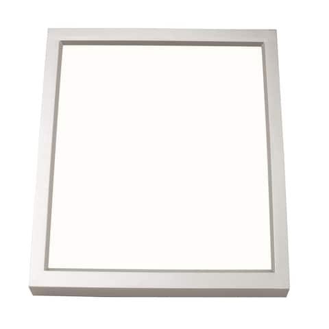 Edge Square 4-inch Satin Nickel LED Outdoor Flush Mount, White Acrylic Shade