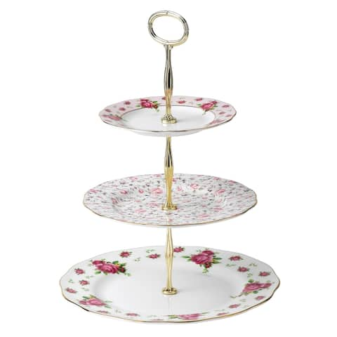 New Country Roses White 3-tier Cake Stand