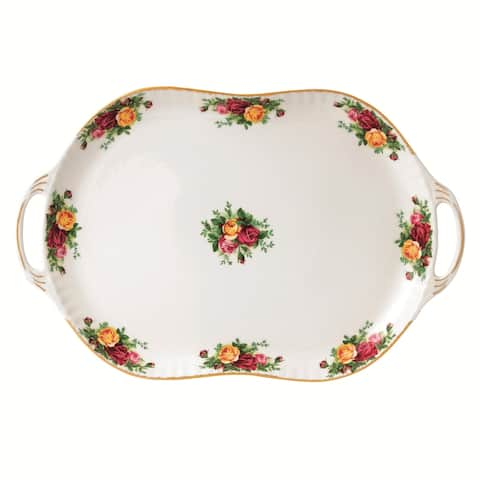 Old Country Roses 19-inch Handled Serving Platter