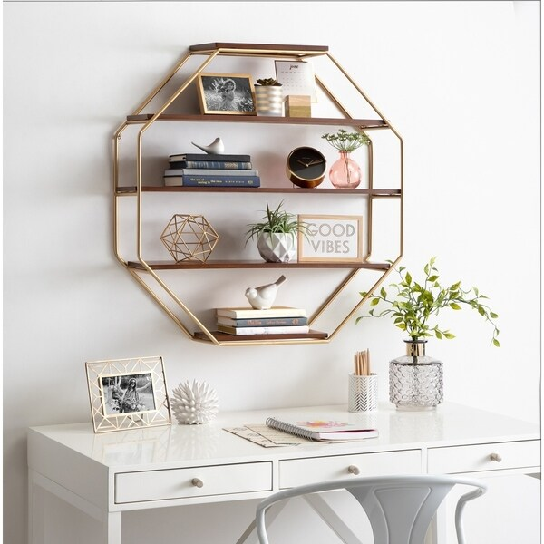 Kate and Laurel Lintz Wood Octagon Wall Shelf