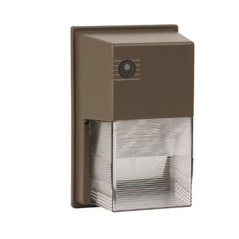 Led Security 1-light Bronze LED Outdoor Sconce, Clear Prismatic Acrylic Shade