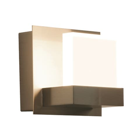 Arlo 1-light ADA Satin Nickel LED Wall Sconce, Frosted Acrylic Shade