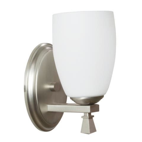 Voltare 1-light Satin Nickel Wall Sconce, White Glass Diffuser