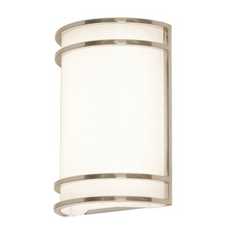 Ventura 1-light ADA Brushed Nickel LED Wall Sconce, White Acrylic Shade