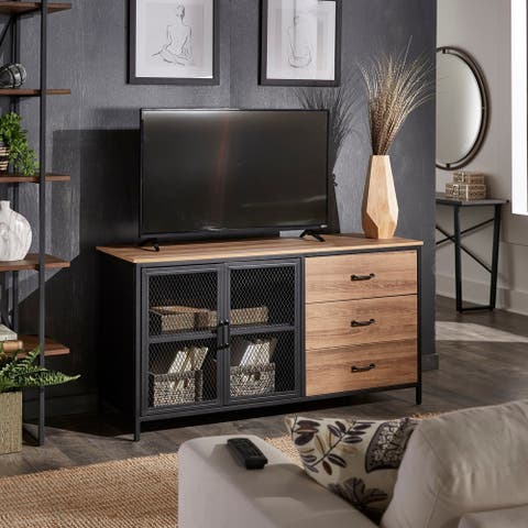 Burlson Natural Finish Cabinet with Metal Doors by iNSPIRE Q Modern