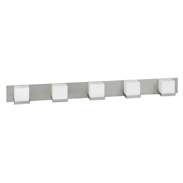 Monroe 5-light Satin Nickel Vanity, Frosted White Glass Diffuser