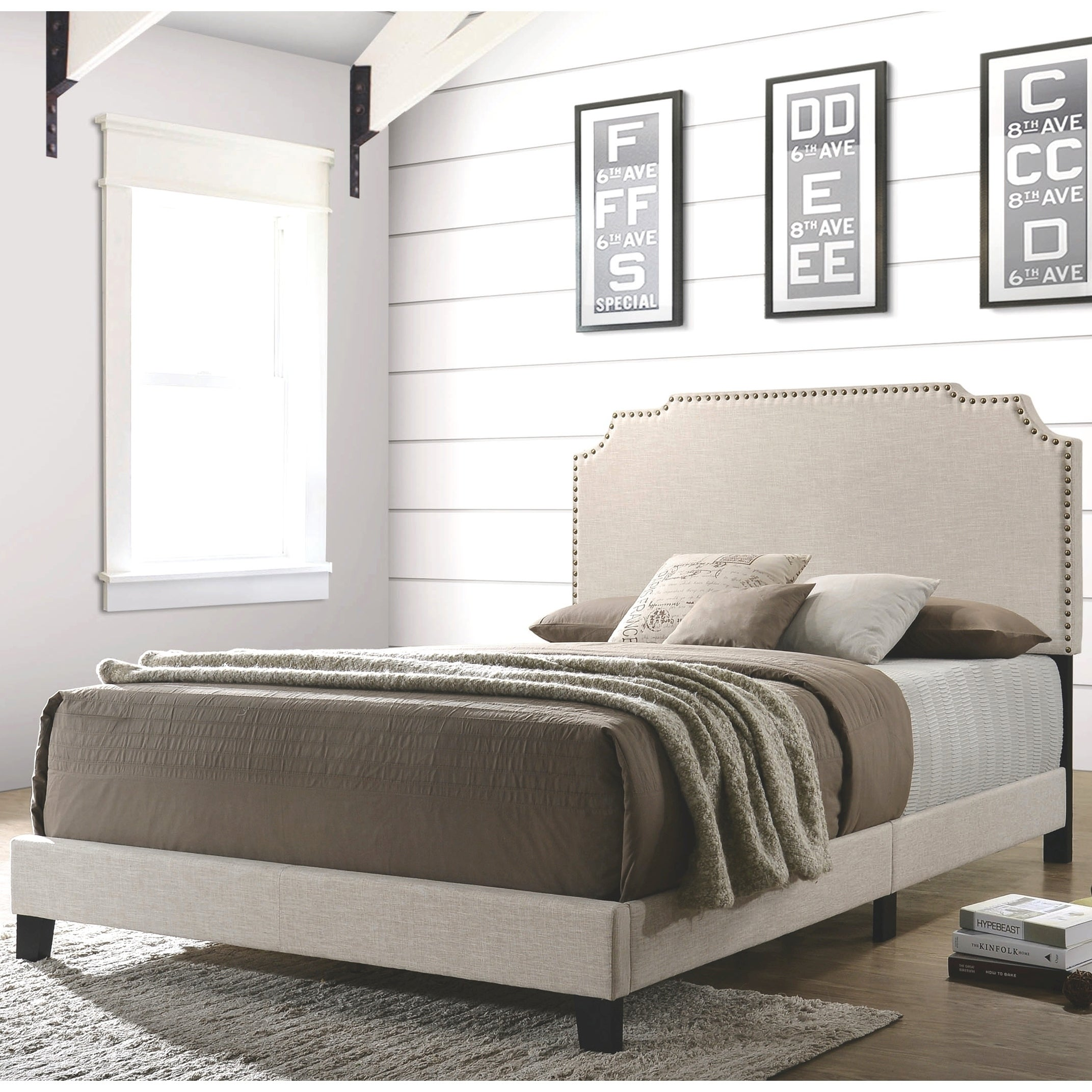 Modern Design Beige Upholstered Bed With Nailhead Trim Overstock 28264552 Queen