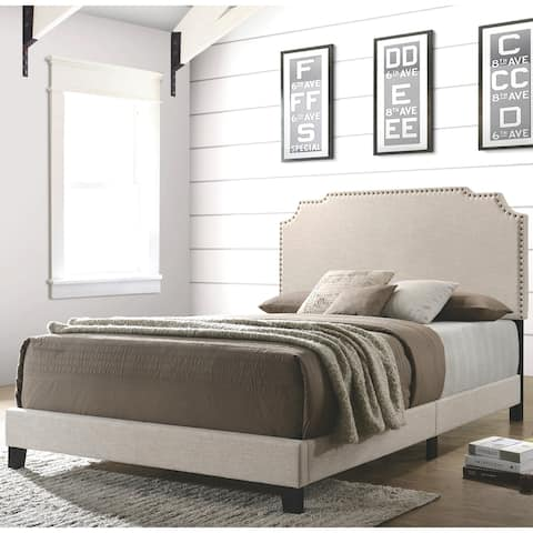 Modern Design Beige Upholstered Bed with Nailhead Trim