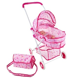 """Link to Deluxe Toy Pram for 18"""" Baby Dolls- Carriage with Diaper Bag, Storage Basket and Canopy by Hey! Play! - Pink - 9' x 13' Similar Items in Dolls & Dollhouses"""
