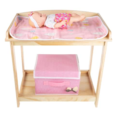 Baby Doll Changing Table for 18 Dolls & Stuffed Animals by Hey! Play! - Natural Wood