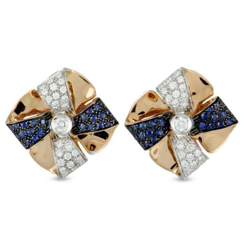 Luca Carati Rose and White Gold Diamond and Sapphire Pave Bow Huggie Omega Earrings