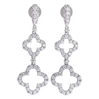 LB Exclusive White Gold Full Diamond Pave Dangling Quatrefoil Earrings