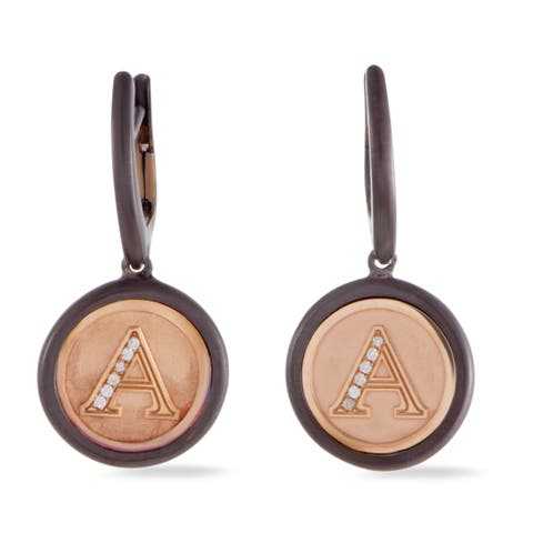 Luca Carati Rose Gold Silver and Black Rhodium Diamond A Dangling Round Snap Earrings