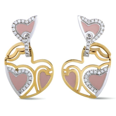 Roberto Coin Yellow and White Gold Diamond and Pink Enamel Heart Dangle Push Back Earrings