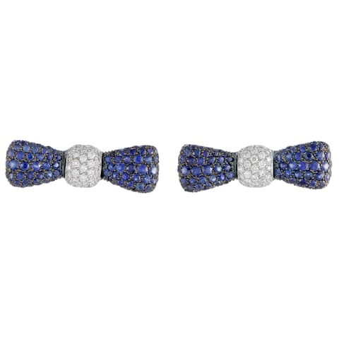 Luca Carati White Gold Diamond and Sapphire Pave Bow Push Back Earrings