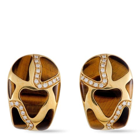 Roberto Coin Yellow Gold Diamond and Tiger's Eye Huggie Clip-On/Omega Back Earrings