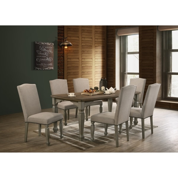Breda Antique Gray and Dark Oak Finished Wood Dining Set, Table with Six Chairs