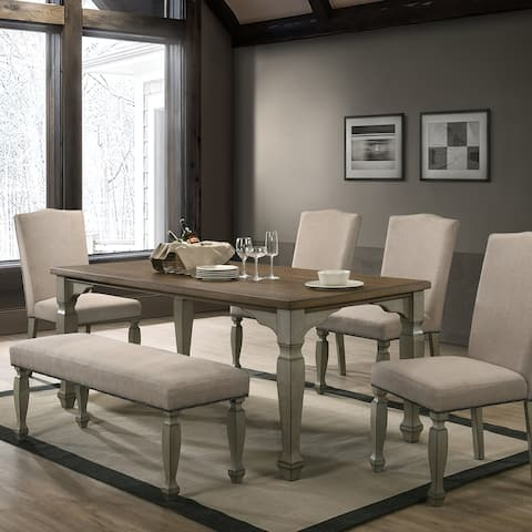 The Gray Barn Willow Springs Antique Grey and Dark Oak Finished Wood Dining Set