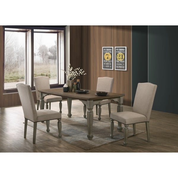 Breda Antique Gray and Dark Oak Finished Wood Dining Set, Table with Four Chairs