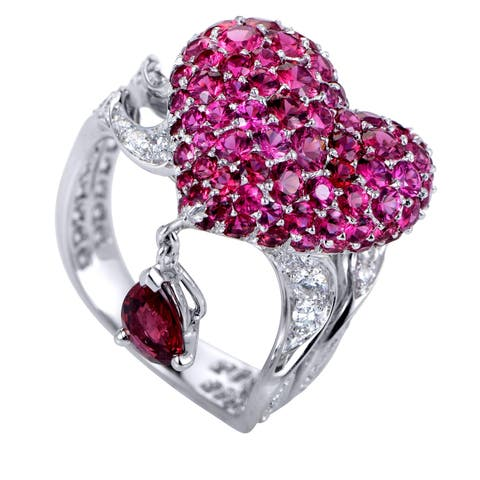 Dior Cupidon White Gold Diamonds, Rubies and Red Spinel Arrow and Heart Ring
