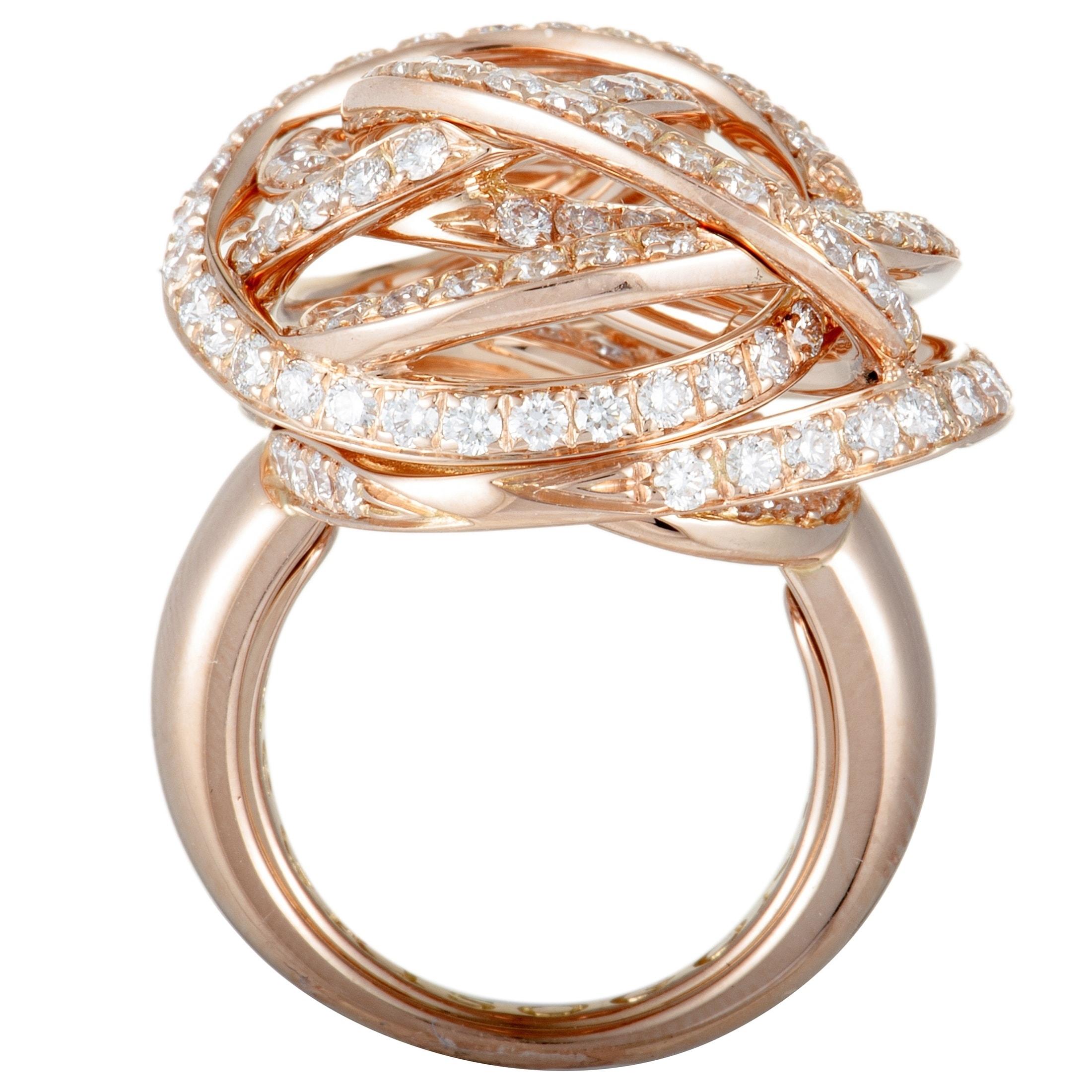 Shop De Grisogono Rose Gold Full Diamond Tangled Swirl Ring Overstock 28265123