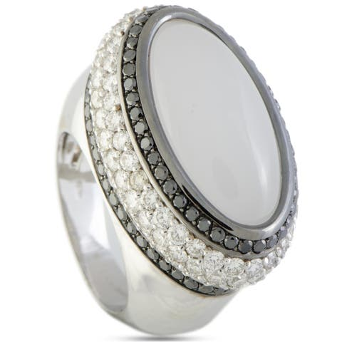 Luca Carati White Gold White and Black Diamonds and White Quartz Large Oval Ring