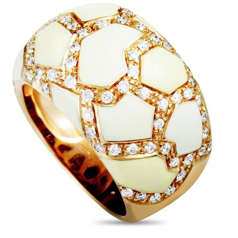 Roberto Coin Rose Gold Diamond and White Enamel Ring Size - 7.5