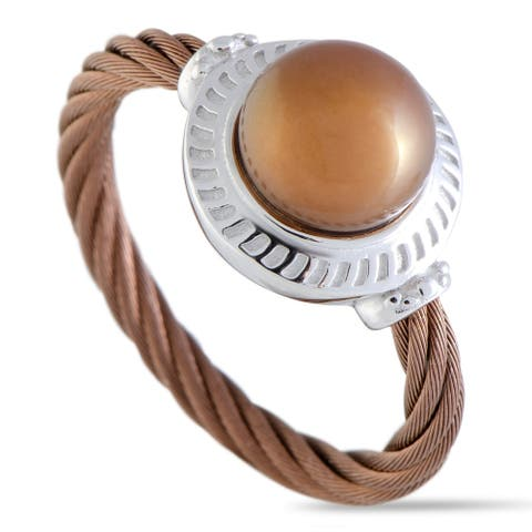 Charriol Pearl Stainless Steel and Bronze PVD Brown Pearl Round Cable Ring Size - 7.25