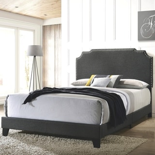Modern Design Grey Upholstered Bed with Nailhead Trim