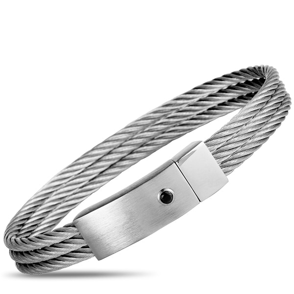 Charriol The Key Stainless Steel and Black Cubic Zirconia Cable Bangle Bracelet