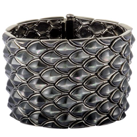 Stephen Webster Superstud Silver and Black Rhodium Black Mother of Pearl Inlay 5 Row Wide Bracelet