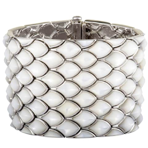 Stephen Webster Superstud Silver White Mother of Pearl Inlay 5 Row Wide Bracelet