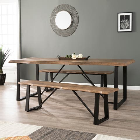 Harper Blvd Lakeith Modern Eclectic Natural Wood Metal Dining Set (3-pcs)